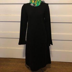 ANN TAYLOR NWT BLACK PONTE DRESS XXS FLUTED SLEEV